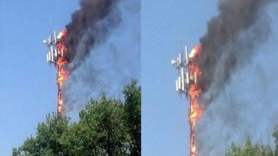 एनसेल टावरमा आगजनी